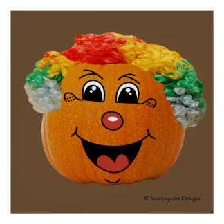 Jack o' Lantern Clown Face, Halloween Pumpkin Poster