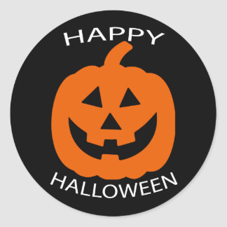 Jack-O-Lantern Curve Text Happy Halloween on Black Classic Round Sticker