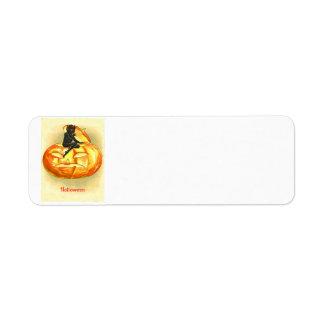 Jack O Lantern Devil Vintage Halloween Label