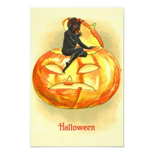 Jack O Lantern Devil Vintage Halloween Photo Print