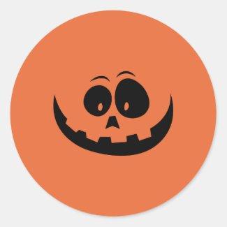 Jack O Lantern Face Classic Round Sticker