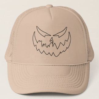 Jack-O'-Lantern Face II, Black Outline Trucker Hat