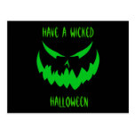 Jack-O'-Lantern Face II, Green Post Card