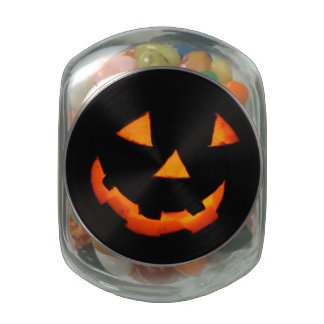 Jack-o'-Lantern Face jelly bean container Glass Jars