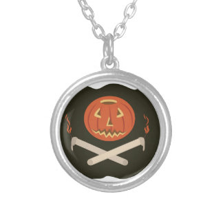 Jack-O-Lantern Flag Silver Plated Necklace