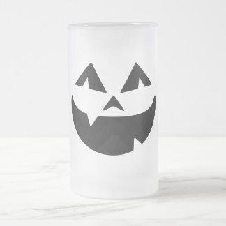 Jack O Lantern Frosted Glass Beer Mug