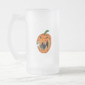 Jack-o-Lantern Frosted Glass Beer Mug