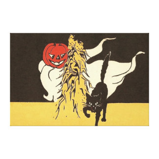 Jack O' Lantern Ghost Black Cat Cornstalk Canvas Print