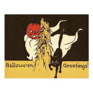 Jack O' Lantern Ghost Black Cat Cornstalk Postcard