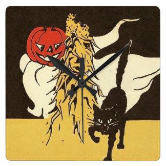 Jack O' Lantern Ghost Black Cat Cornstalk Square Wall Clock