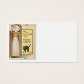 Jack O Lantern Ghost Black Cat Grandfather Clock Business Card