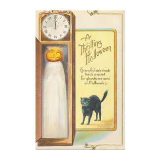 Jack O Lantern Ghost Black Cat Grandfather Clock Canvas Print