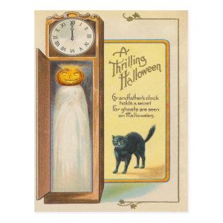 Jack O Lantern Ghost Black Cat Grandfather Clock Postcard