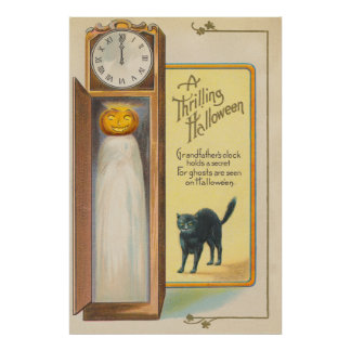 Jack O Lantern Ghost Black Cat Grandfather Clock Poster