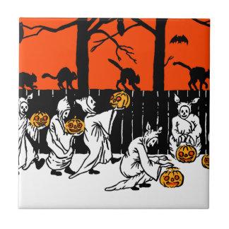 Jack O' Lantern Ghosts Vintage Pattern Ceramic Tile
