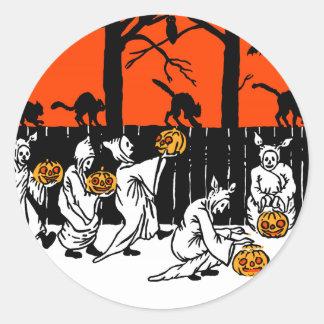 Jack O' Lantern Ghosts Vintage Pattern Classic Round Sticker