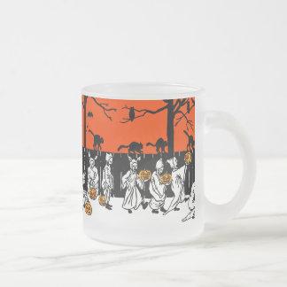 Jack O' Lantern Ghosts Vintage Pattern Frosted Glass Coffee Mug