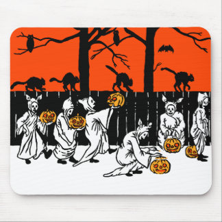 Jack O' Lantern Ghosts Vintage Pattern Mouse Pad