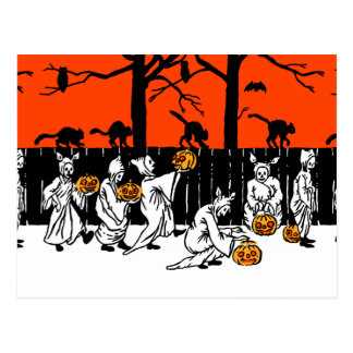 Jack O' Lantern Ghosts Vintage Pattern Postcard