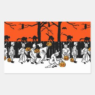 Jack O' Lantern Ghosts Vintage Pattern Rectangular Sticker