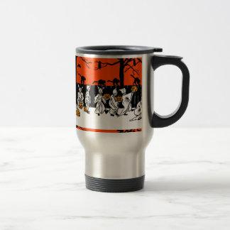 Jack O' Lantern Ghosts Vintage Pattern Travel Mug