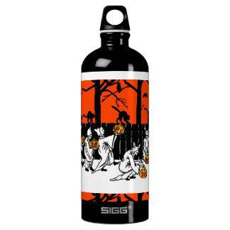 Jack O' Lantern Ghosts Vintage Pattern Water Bottle