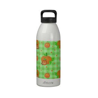 Jack O' Lantern Gingham Pattern Reusable Water Bottle