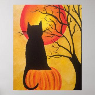 Jack O Lantern Halloween Black Cat Pumpkin Poster