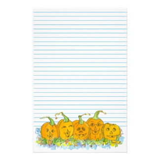 Jack-O-Lantern Halloween Blue Lined Stationery