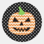Jack-O-Lantern Halloween Card Classic Round Sticker