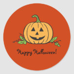 Jack O Lantern Halloween Classic Round Sticker