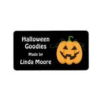 Jack o lantern Halloween kitchen label