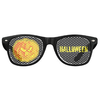 Jack O Lantern Halloween on black Retro Sunglasses