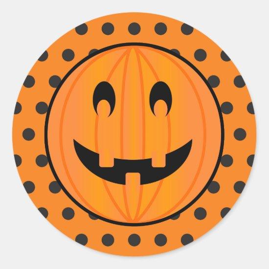 Jack o Lantern, Halloween Polka-dots Design Classic Round Sticker