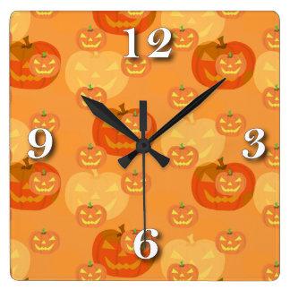Jack O lantern Halloween Square Wall Clock