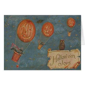 Jack O' Lantern Hot Air Balloon Owl Black Cat Card