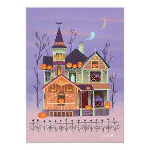 Jack O Lantern House Halloween Party Invitation