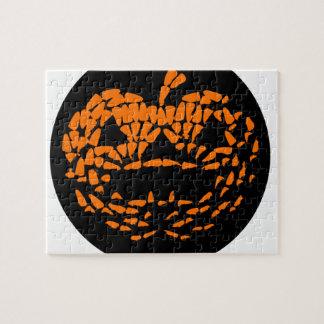 Jack-O-Lantern Icon Orange on Black Jigsaw Puzzle