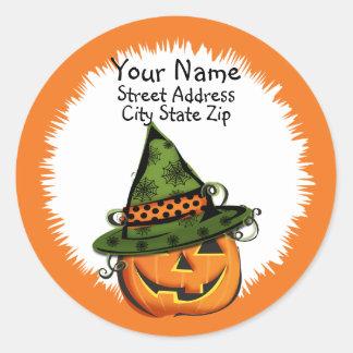 Jack-O-Lantern in Witch Hat Address Label Classic Round Sticker