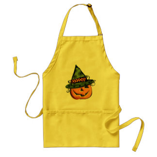 Jack-O-Lantern in Witch Hat Aprons