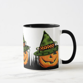 Jack-O-Lantern in Witch Hat Mug