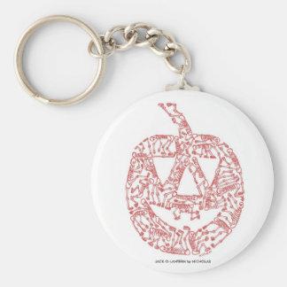 JACK-O-LANTERN made of Skeletons Basic Round Button Keychain