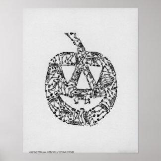 JACK-O-LANTERN made of SKELETONS by NI Poster