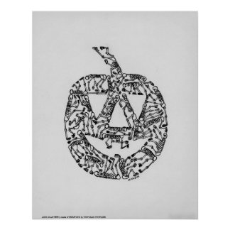 JACK-O-LANTERN made of SKELETONS by NI Posters