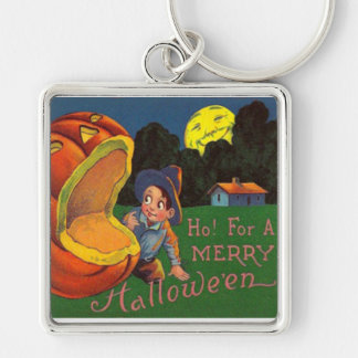 Jack O Lantern Man In The Moon Boy Silver-Colored Square Keychain