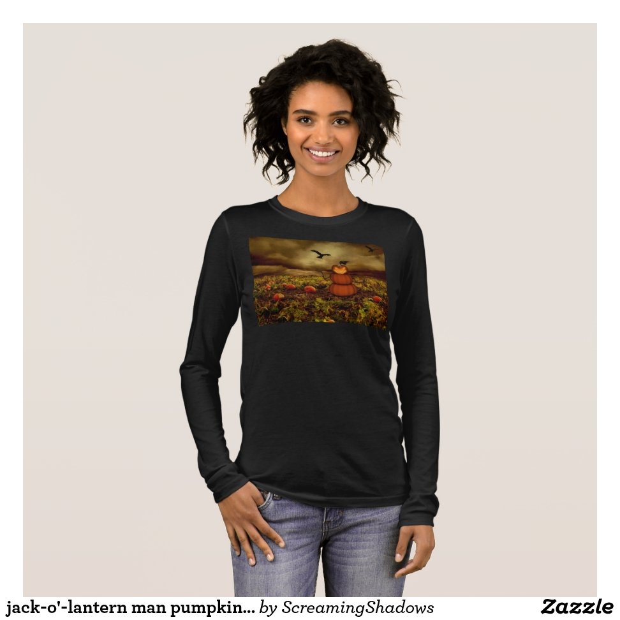 jack-o'-lantern man pumpkin patch long sleeve T-Shirt - Best Selling Long-Sleeve Street Fashion Shirt Designs