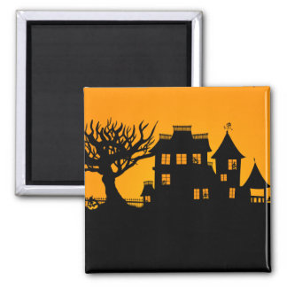 Jack O Lantern Manor 2 Inch Square Magnet