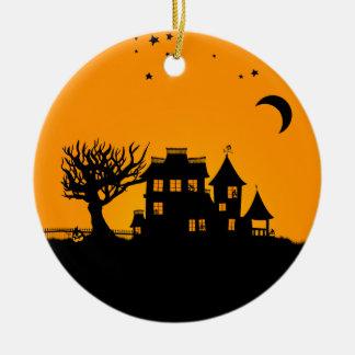 Jack O Lantern Manor Ceramic Ornament