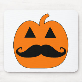 Jack o Lantern mustache Mouse Pad