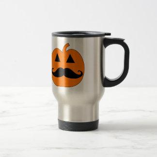 Jack o Lantern mustache 15 Oz Stainless Steel Travel Mug